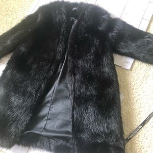 Pretty Little Thing Black faux fur coat